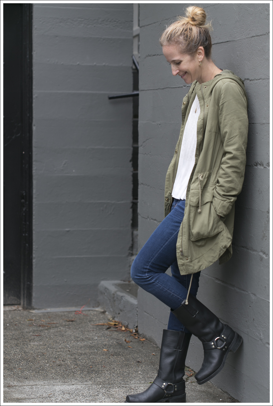 blog H&M Army coat J Brand Jeans Black Frye Harness Boots-2