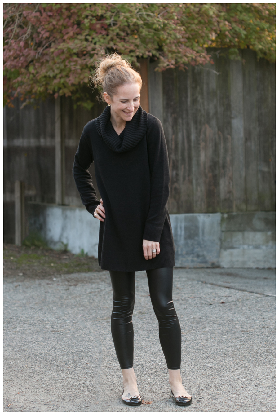 Blog Black HM Sweater Faux Leather Leggings-1