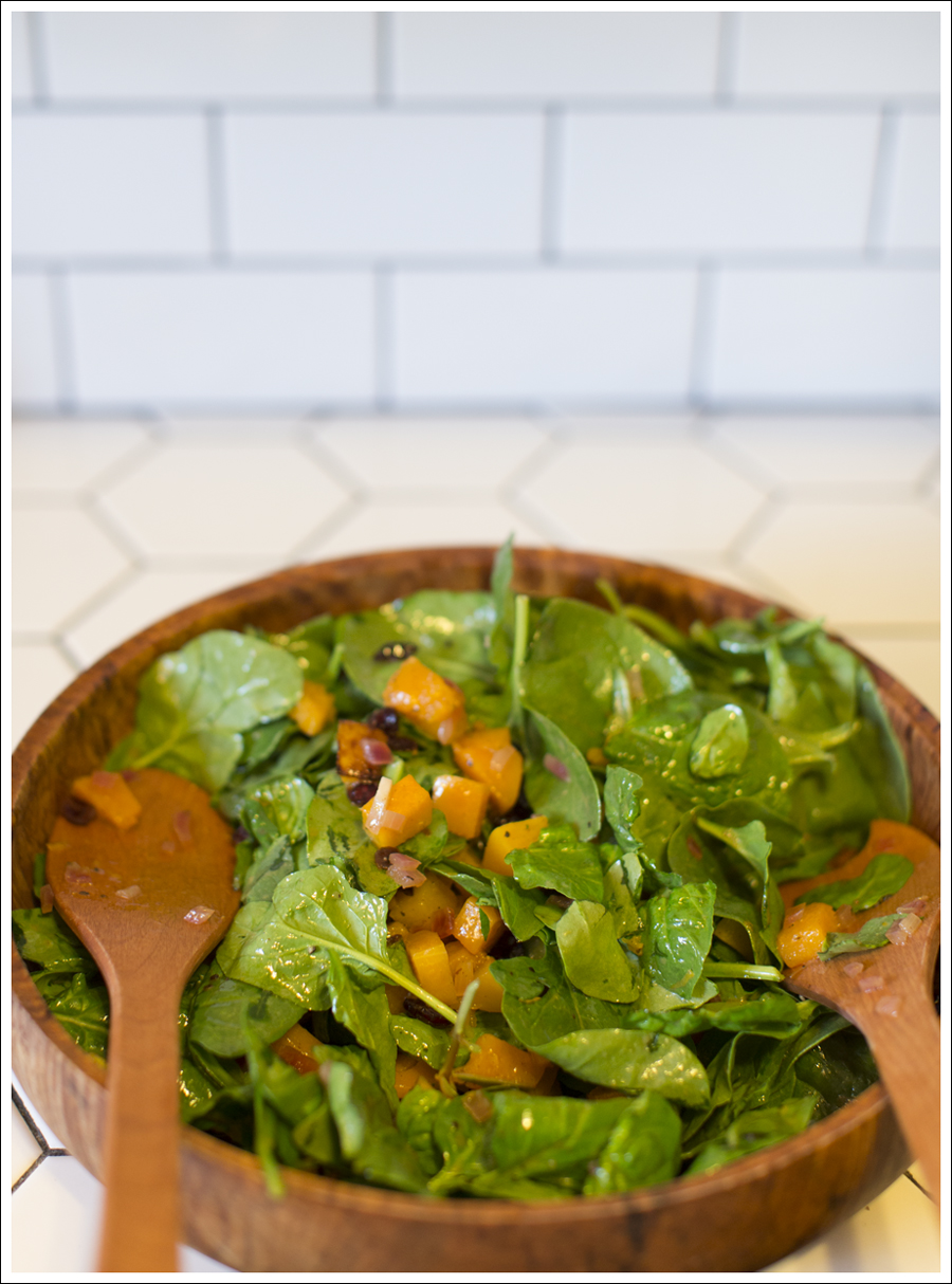 Paleo Warm Butternut Squash Salad with Apple Cider Dressing |