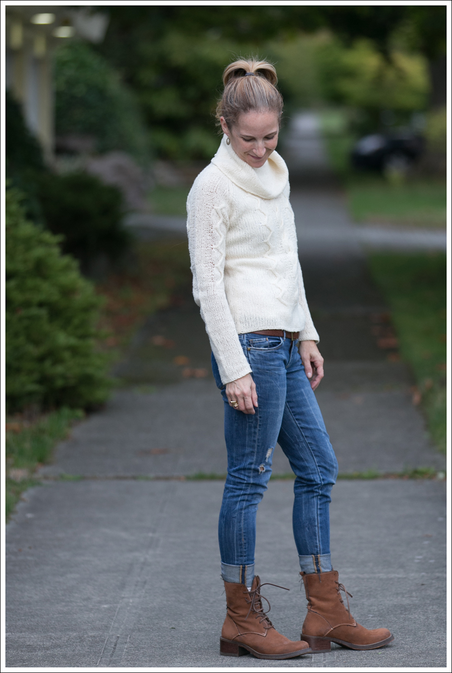 Blog Cream J Crew Sweater Destroyed Blank Lace up Boots-1