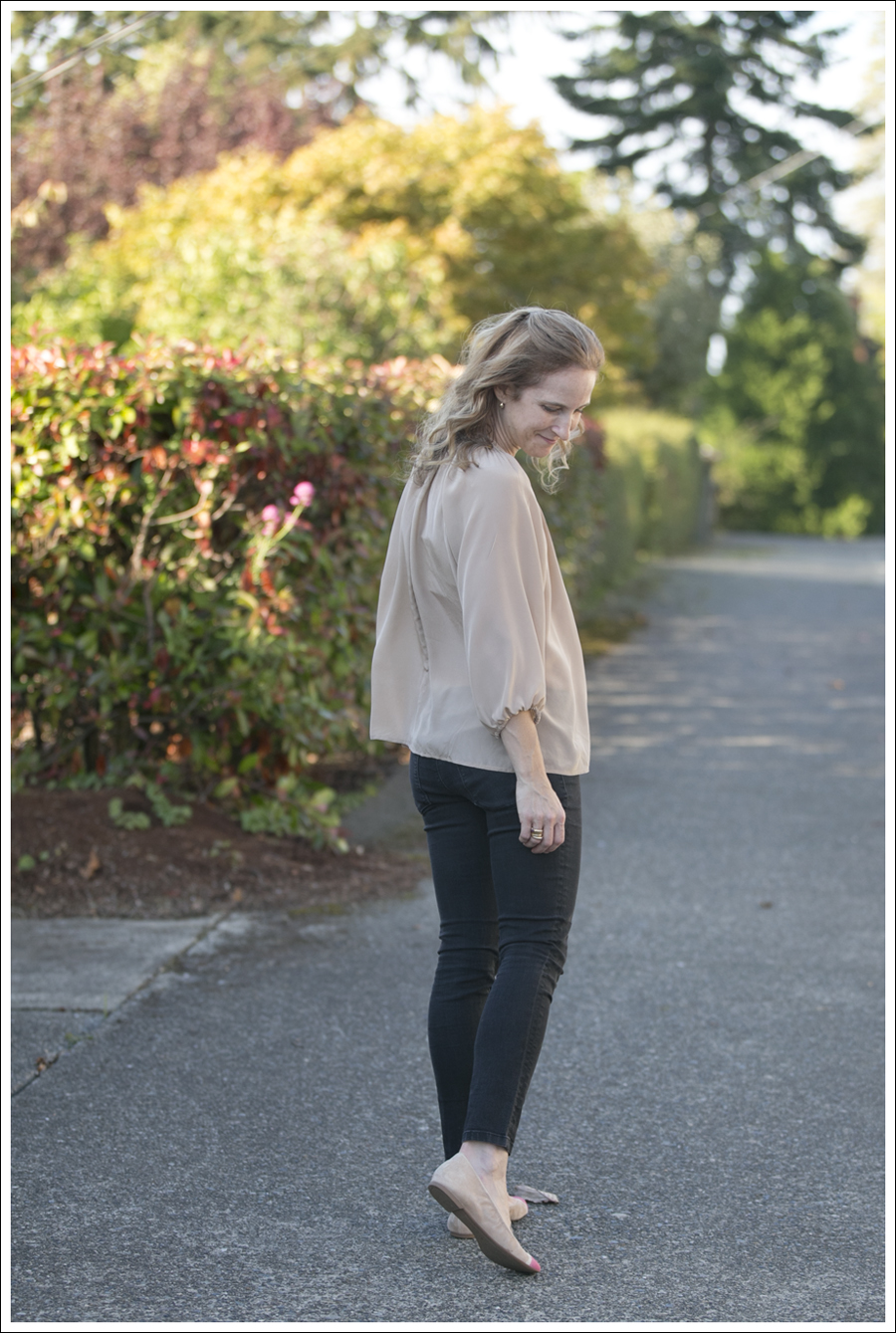 blog Silk Blouse DL 1961 Jeans Color Block Shoes-3