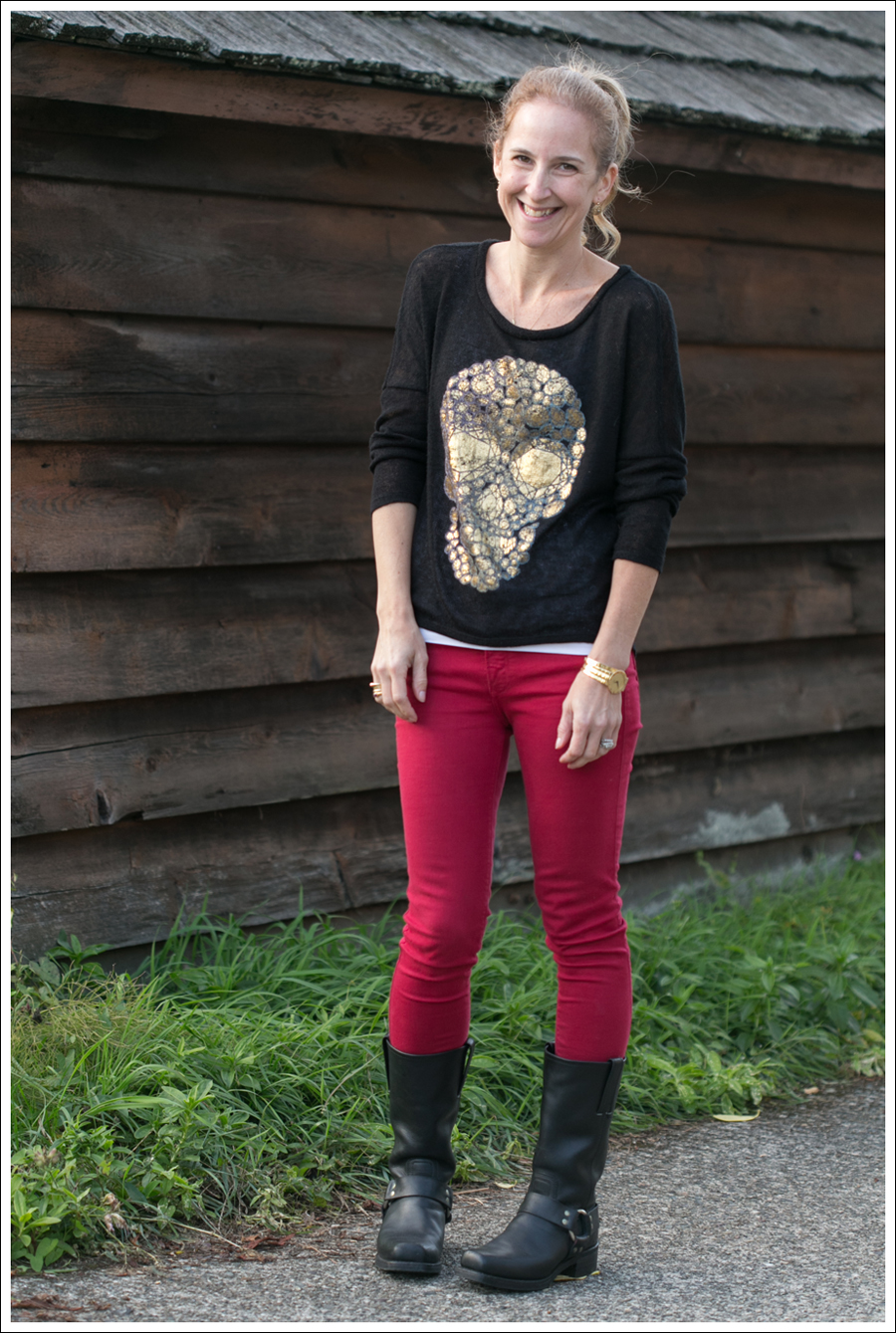 Blog Vintage Havana Skull Sweater Red Black Orchid Frye Boots-1