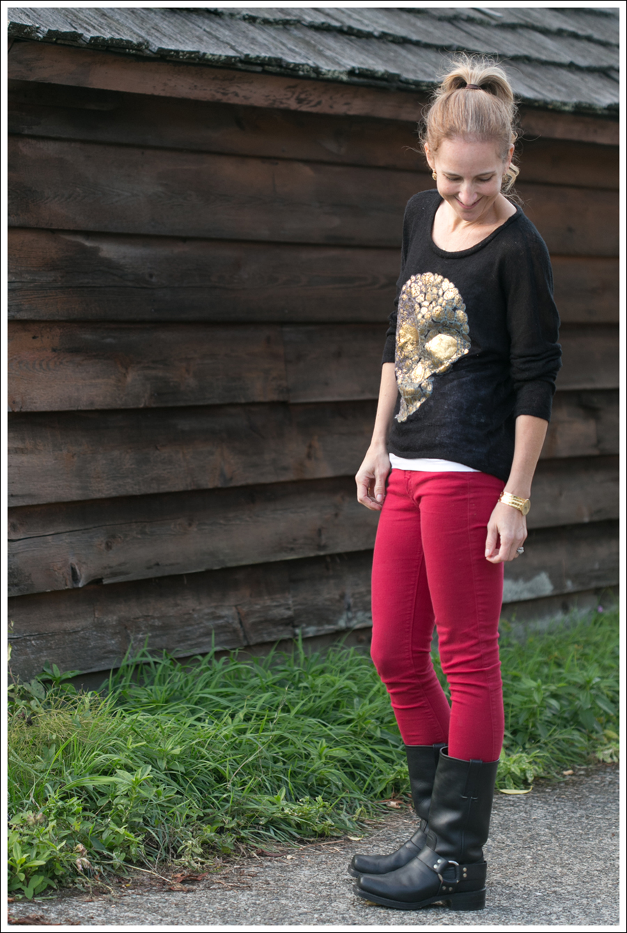 Blog Vintage Havana Skull Sweater Red Black Orchid Frye Boots-3
