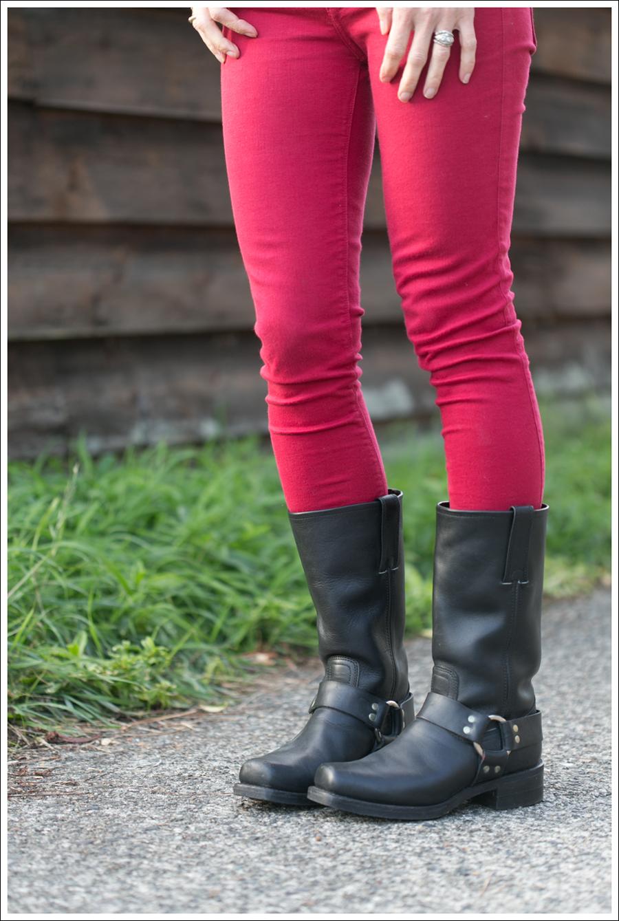 Blog Vintage Havana Skull Sweater Red Black Orchid Frye Boots-4