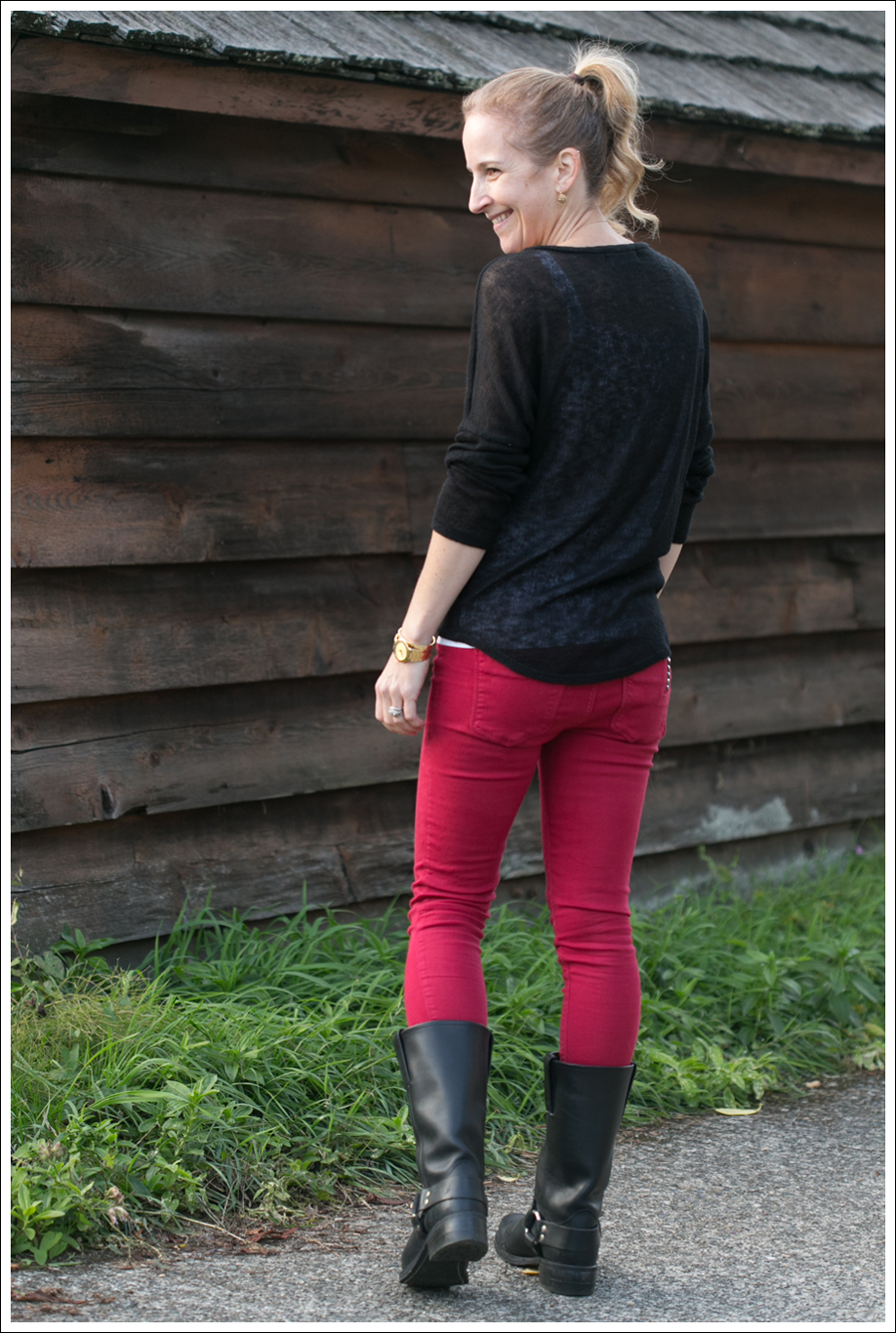 Blog Vintage Havana Skull Sweater Red Black Orchid Frye Boots-5