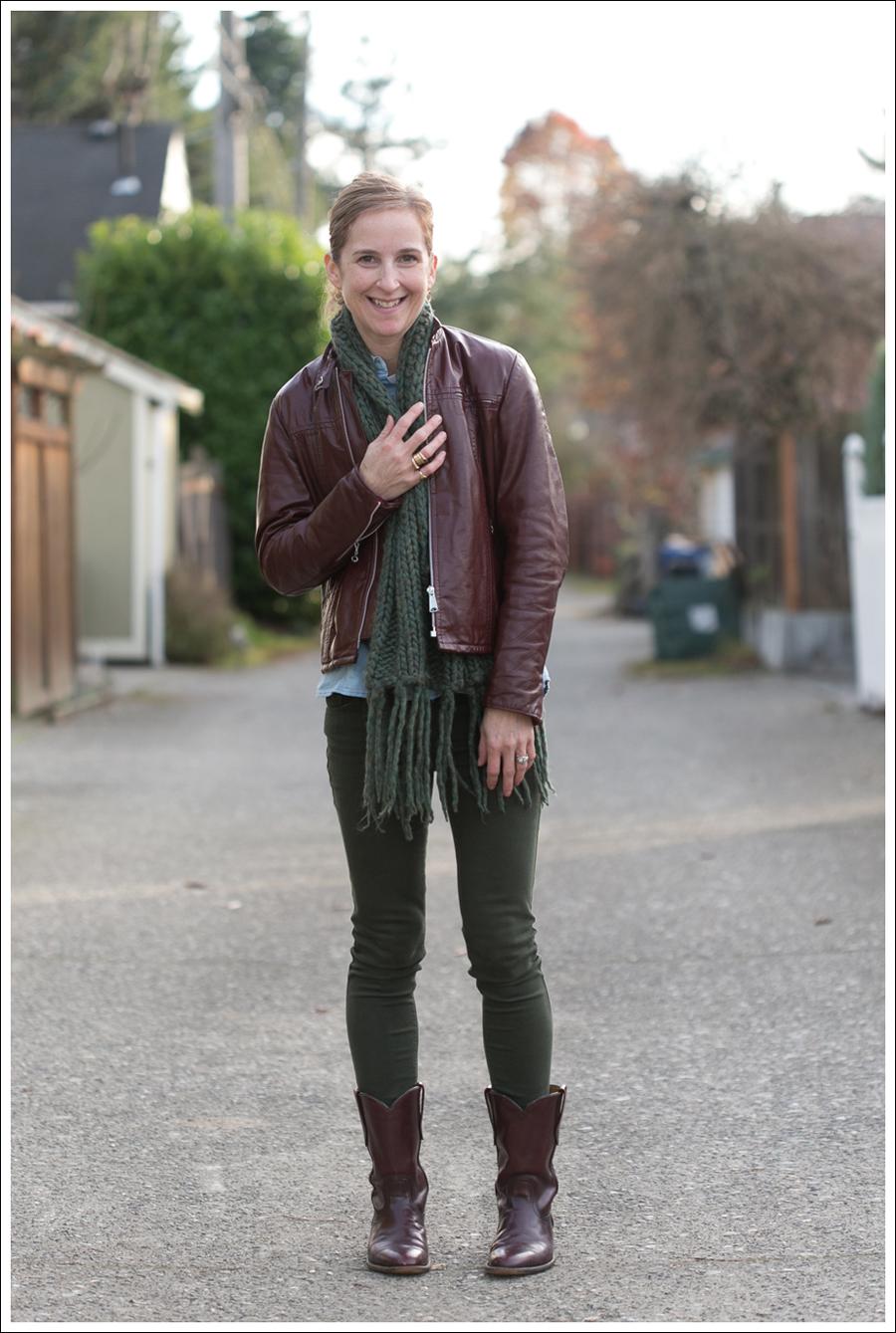 Blog Oxblood Leather Jacket Green BlackOrchid Jeans Frye Boots-1