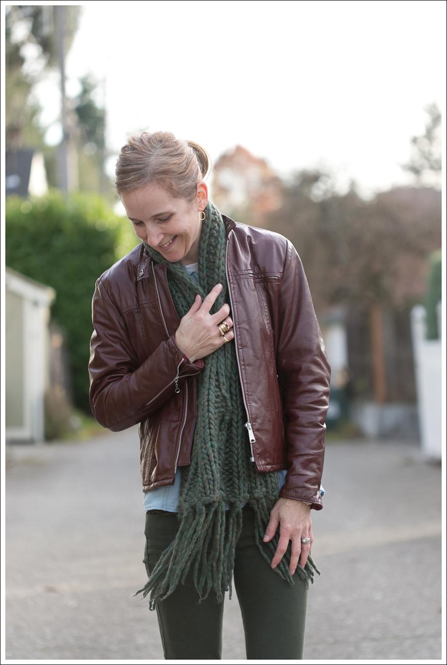 Blog Oxblood Leather Jacket Green BlackOrchid Jeans Frye Boots-2