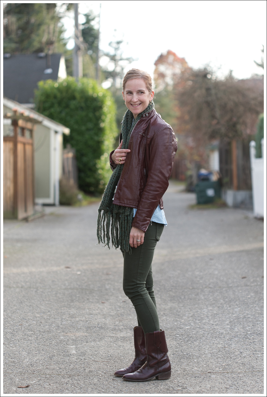 Blog Oxblood Leather Jacket Green BlackOrchid Jeans Frye Boots-3