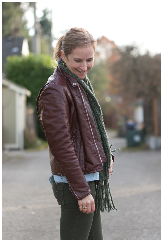 Blog Oxblood Leather Jacket Green BlackOrchid Jeans Frye Boots-4