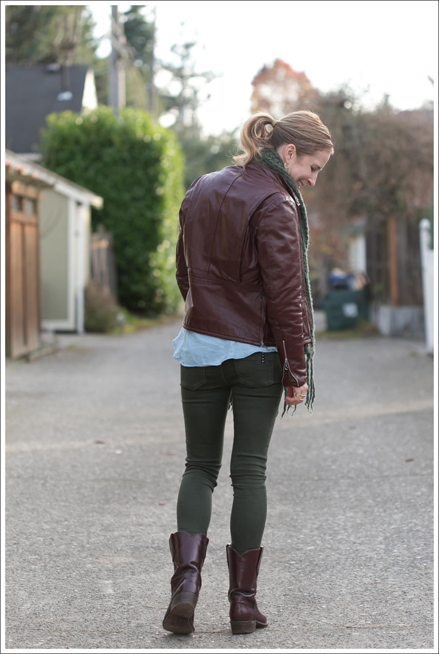 Blog Oxblood Leather Jacket Green BlackOrchid Jeans Frye Boots-5