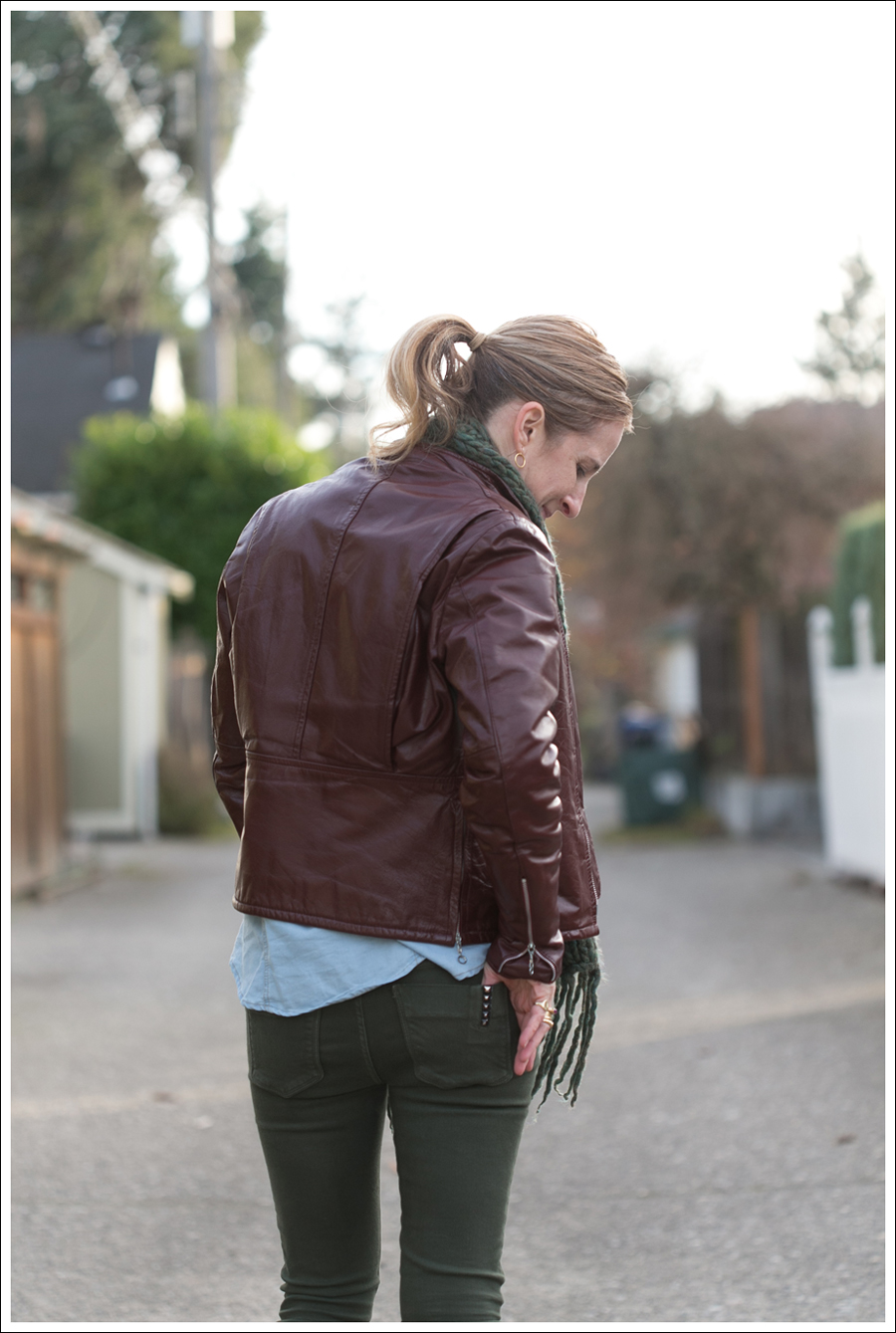 Blog Oxblood Leather Jacket Green BlackOrchid Jeans Frye Boots-6