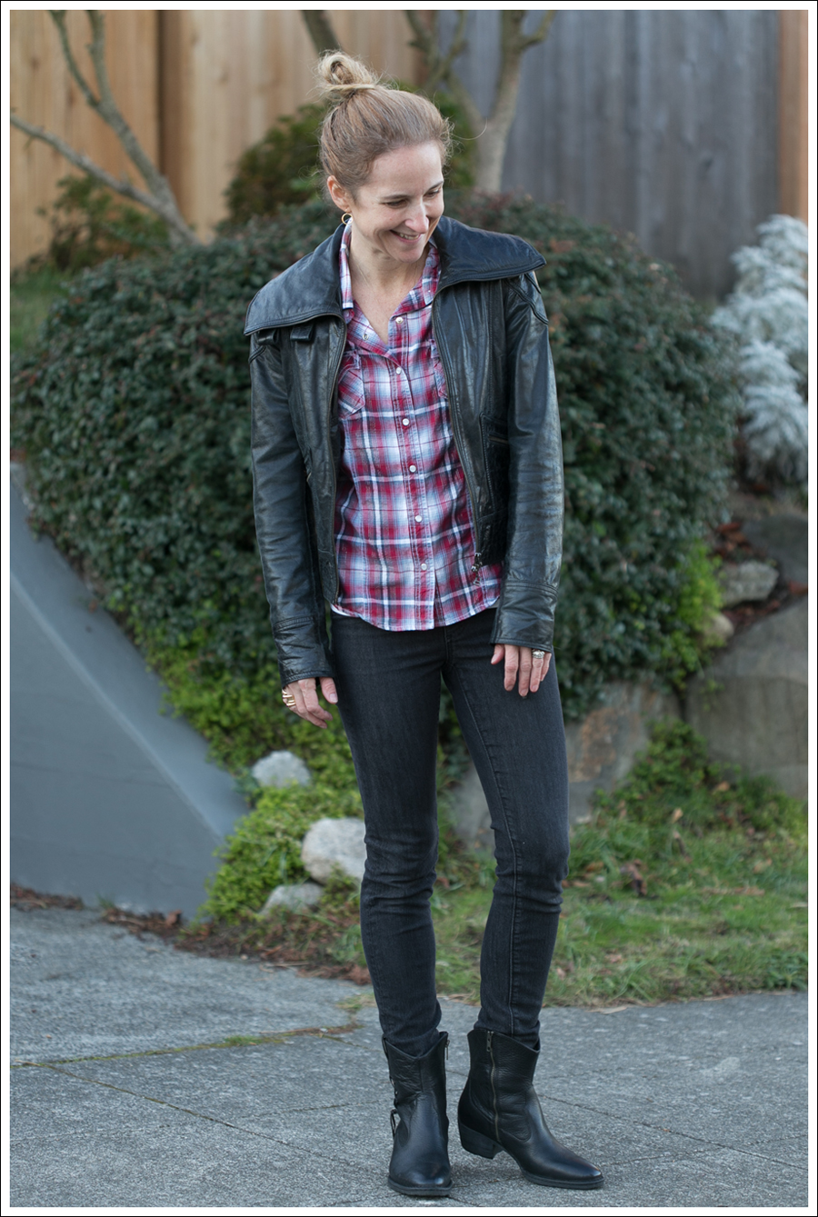 Blog Doma Leather Jacket Plaid Top AG Jeans Boots-1