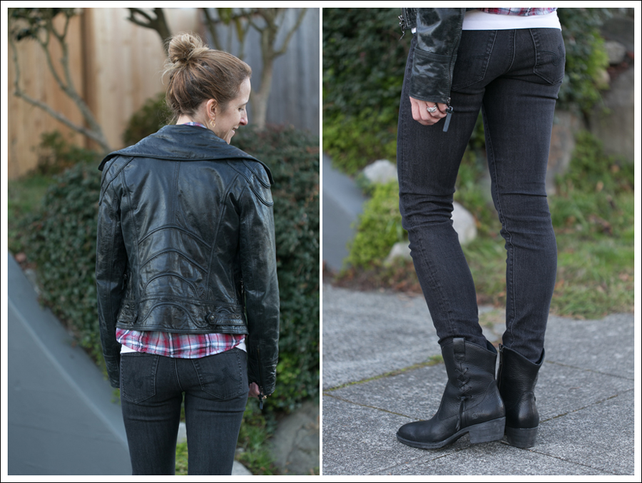 Blog Doma Leather Jacket Plaid Top AG Jeans Boots-2