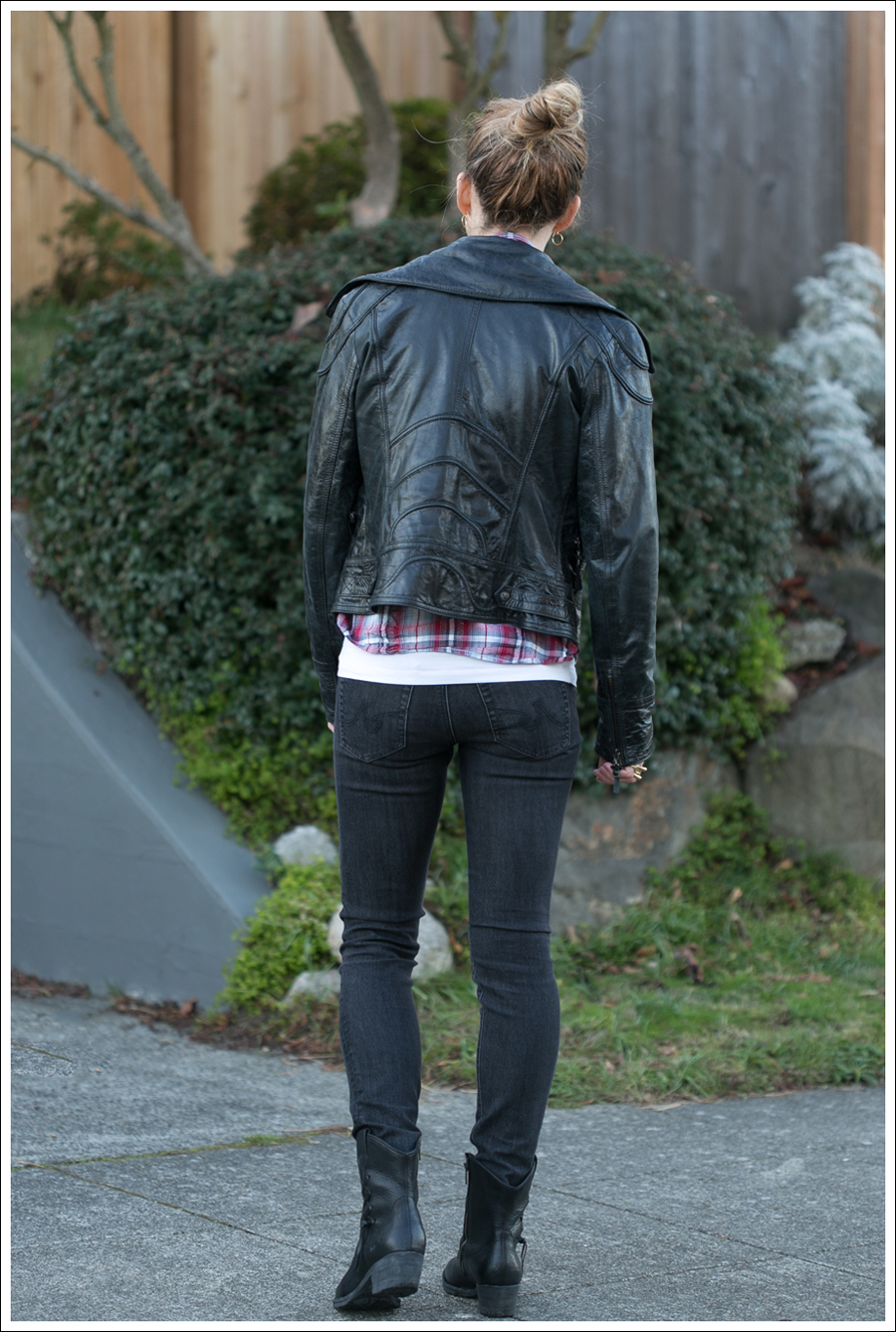 Blog Doma Leather Jacket Plaid Top AG Jeans Boots-3