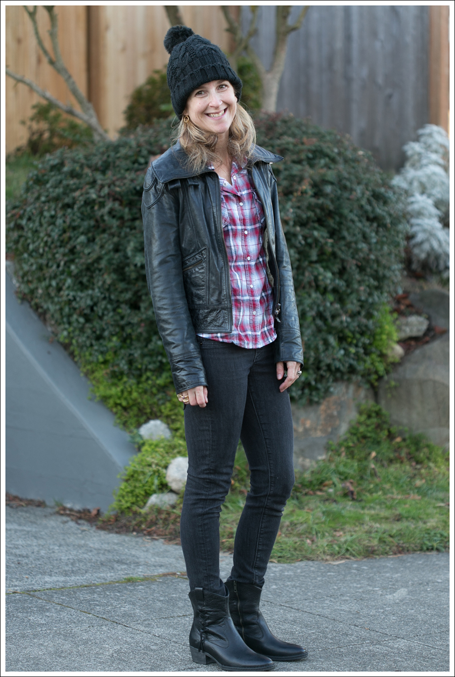 Blog Doma Leather Jacket Plaid Top AG Jeans Boots-4