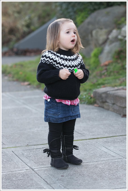 blog Maya 111 weeks Fair Isle Sweater Skirt boots Laugh-3