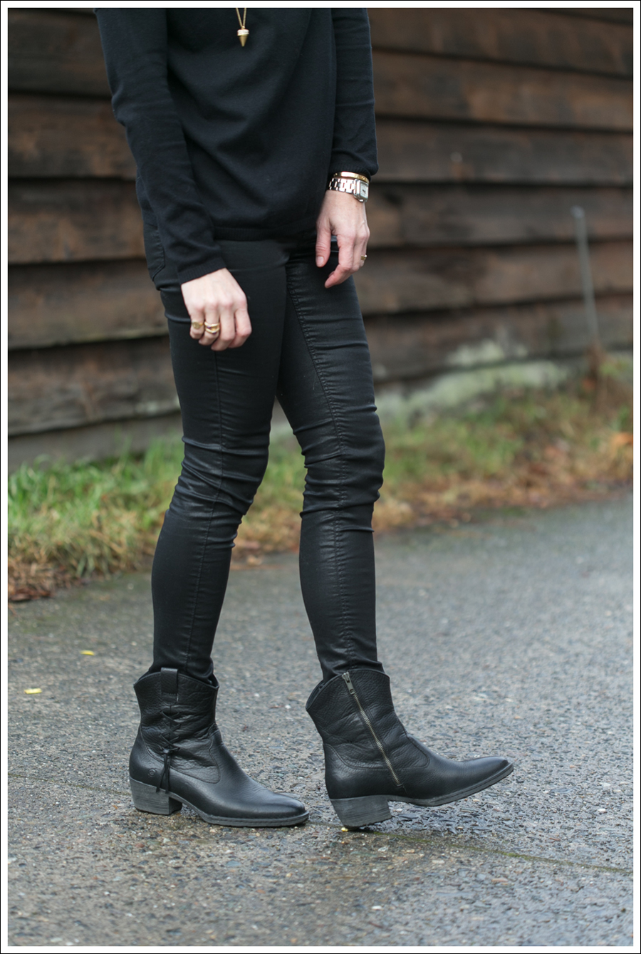 Blog Zara Sweater HM Faux Leather Pants Born Booties-4