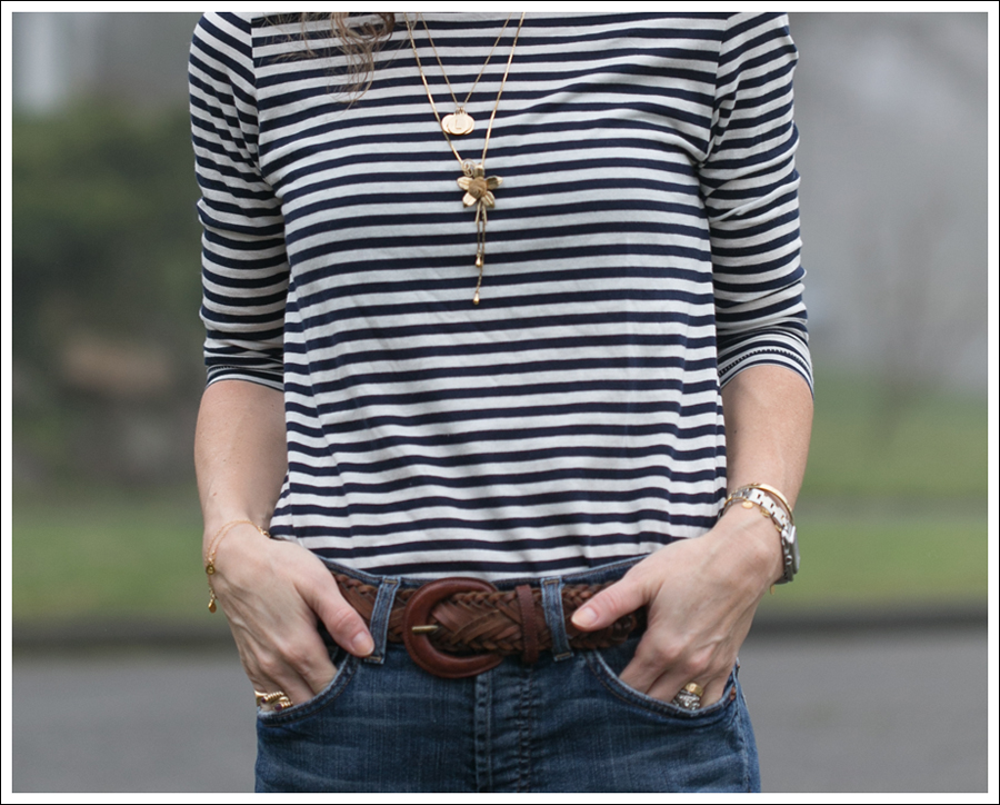 Blog 7FAM Boyfriend Zara Striped Tee Timberland Loafers-4
