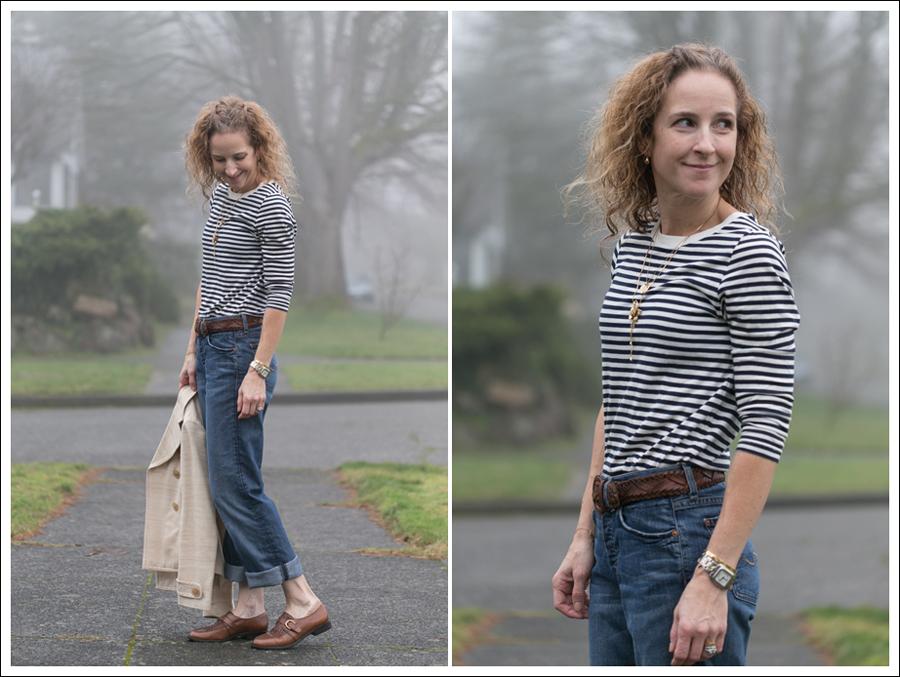 Blog 7FAM Boyfriend Zara Striped Tee Timberland Loafers-5