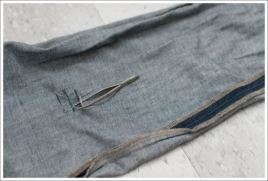Blog DIY Destroyed Denim Jeans With Strings Attached-3