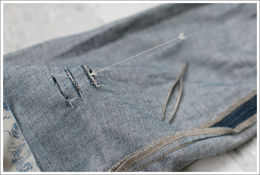 Blog DIY Destroyed Denim Jeans With Strings Attached-4