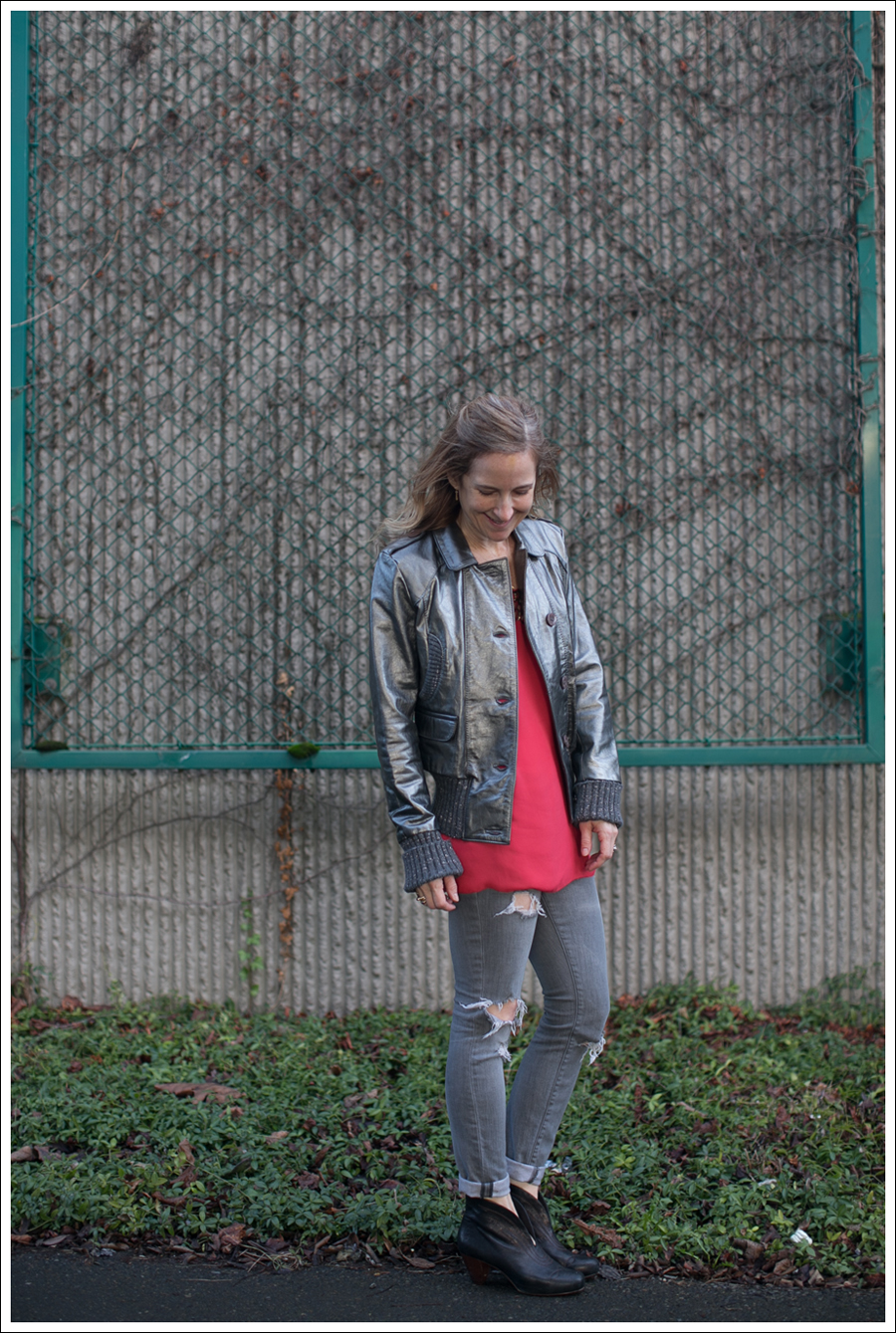 Blog Doma Leather Bomber Jacket BCBG Silk Tunic Current Elliott Destroyed Skinny Frye Booties-10