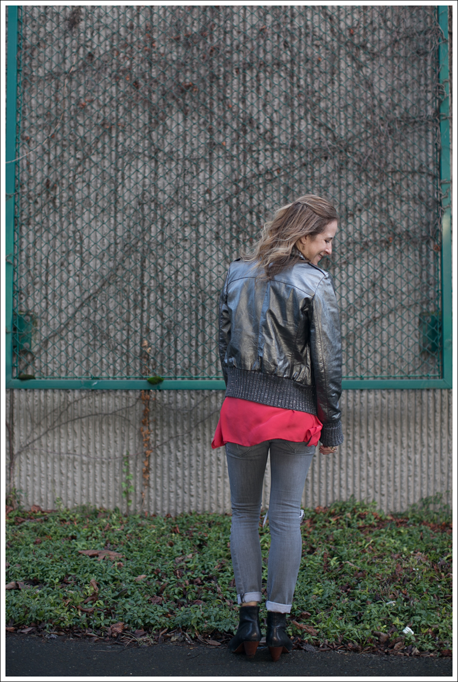 Blog Doma Leather Bomber Jacket BCBG Silk Tunic Current Elliott Destroyed Skinny Frye Booties-11