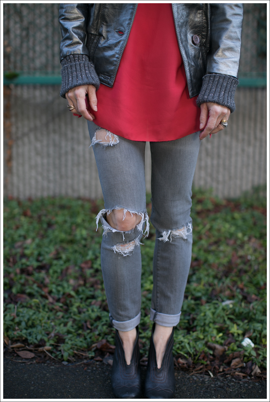 Blog Doma Leather Bomber Jacket BCBG Silk Tunic Current Elliott Destroyed Skinny Frye Booties-8
