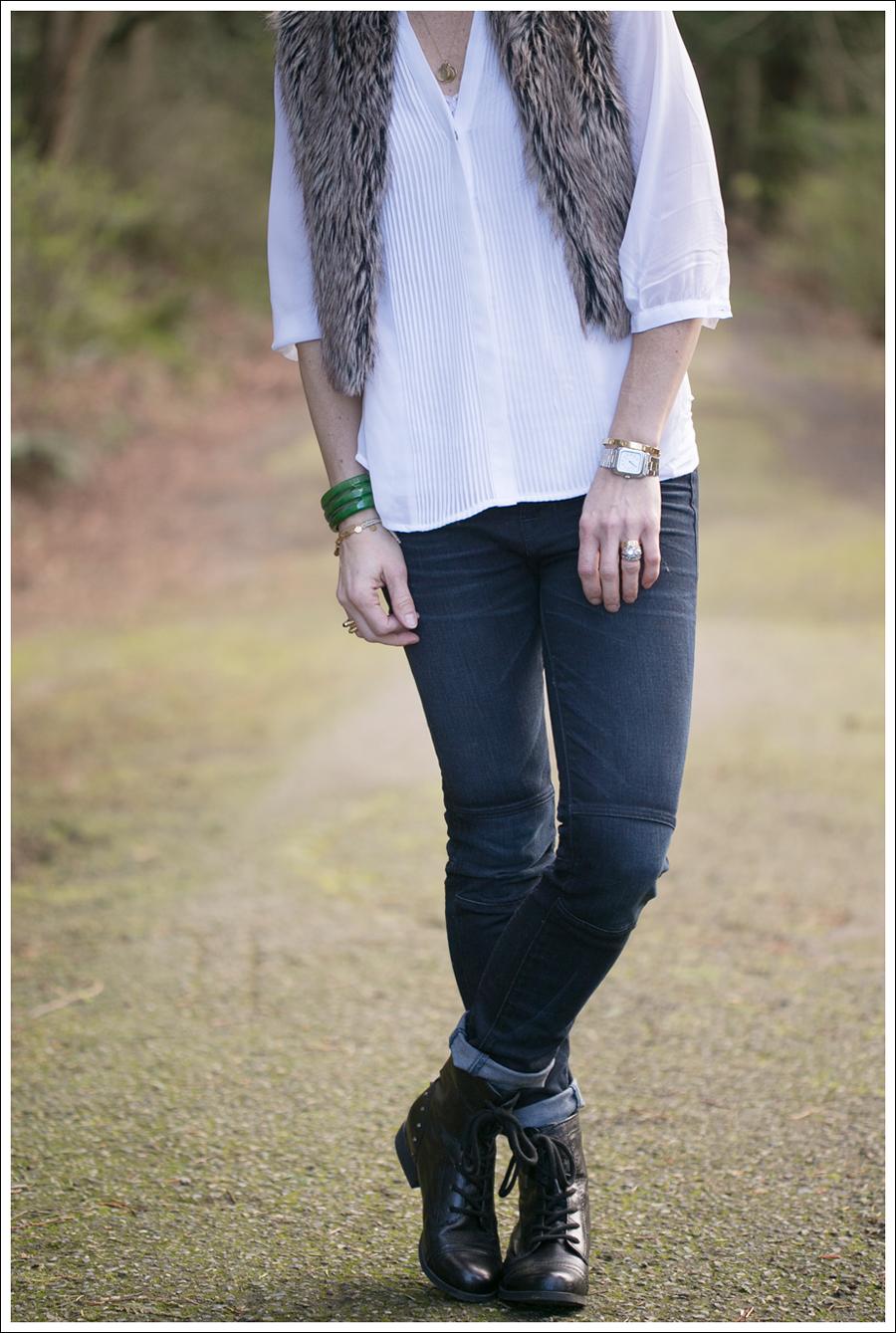 Blog Faux Fur Vest HM Top J Brand Moto Jeans StyleMint boots-3