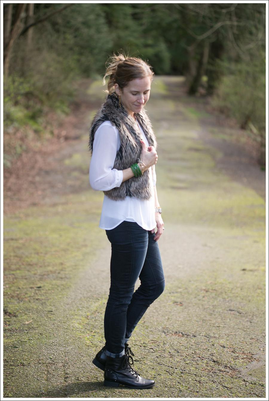 Blog Faux Fur Vest HM Top J Brand Moto Jeans StyleMint boots-5