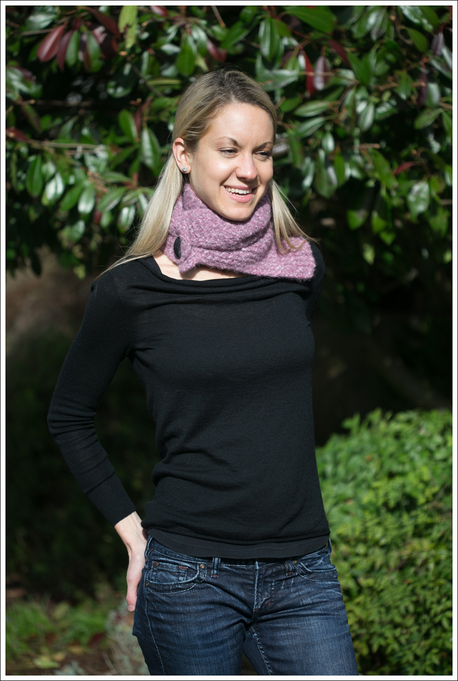 Blog Black Outfit with Pink Scarf-1