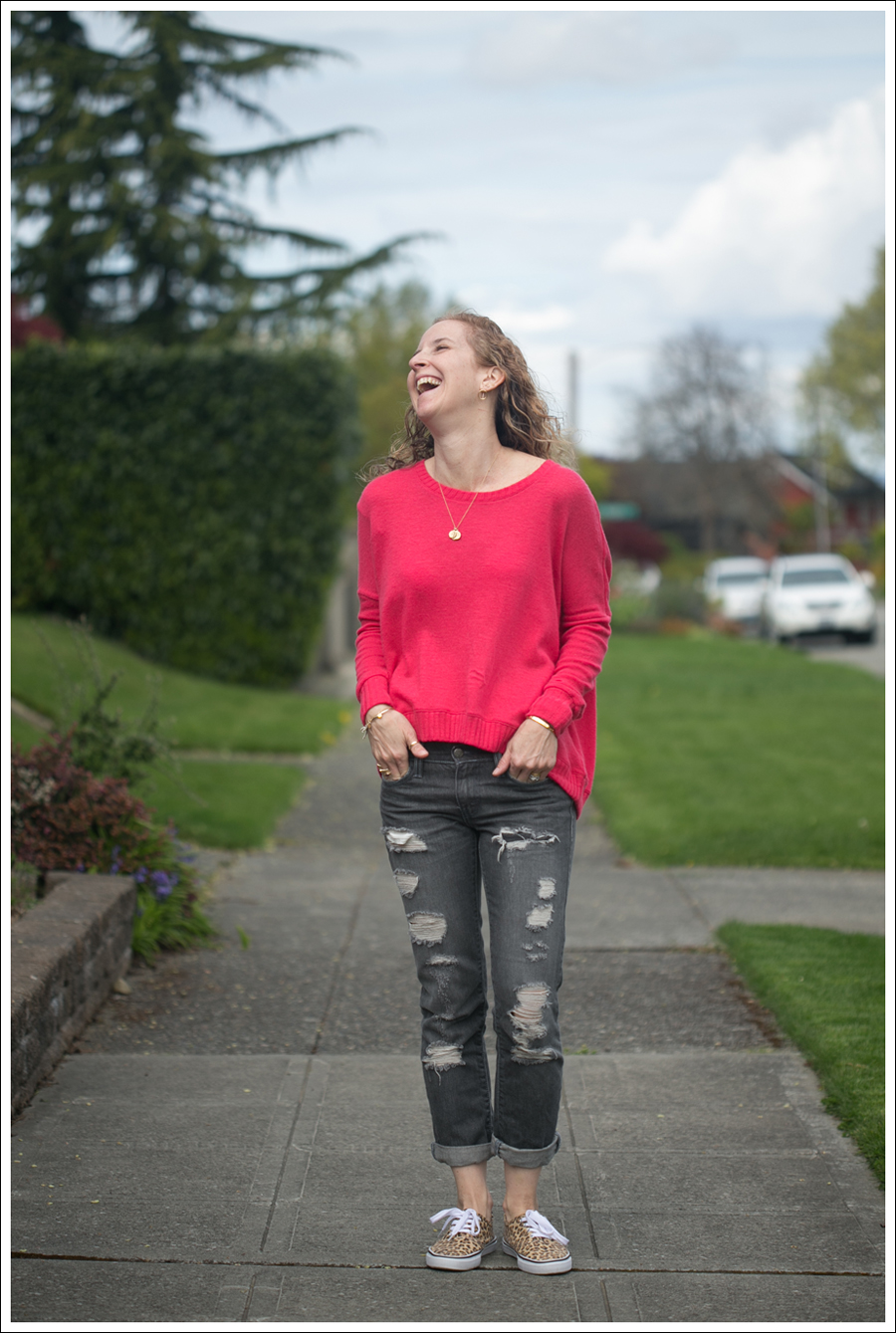 Blog Heather Coral Back Zip Ripped Levis HM Leopard Shoes-1
