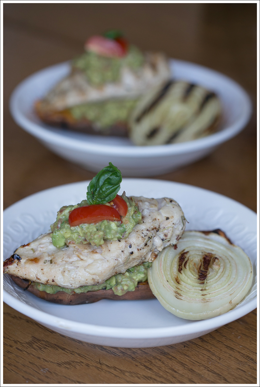 Blog BBQ Paleo Whole30 Chicken Sweet Potato Grilled Onion with Basil Guacamole-1