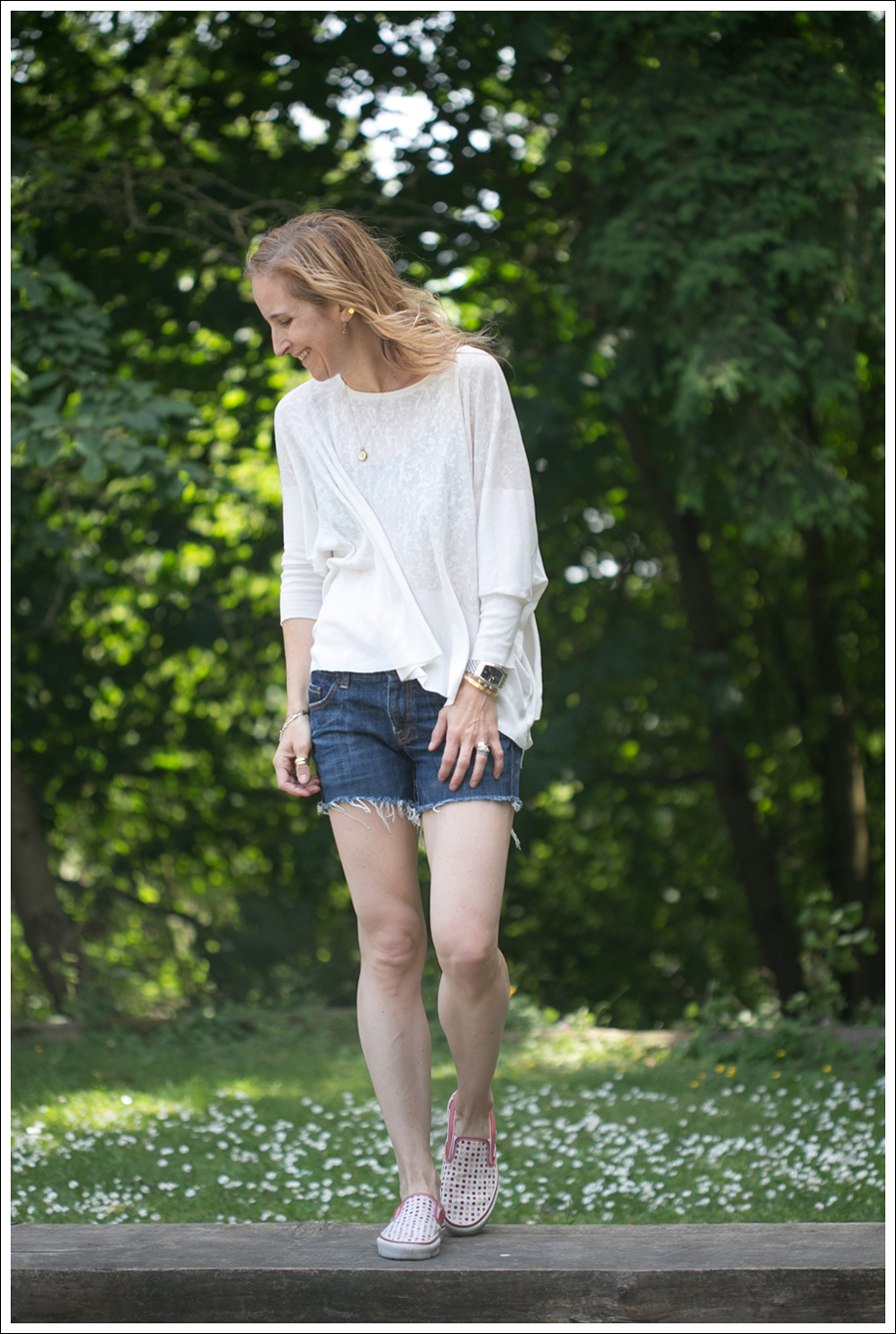 Blog Zara Swing Tee Citizend Of Humanity Cut offs Polka Dot Vans-1