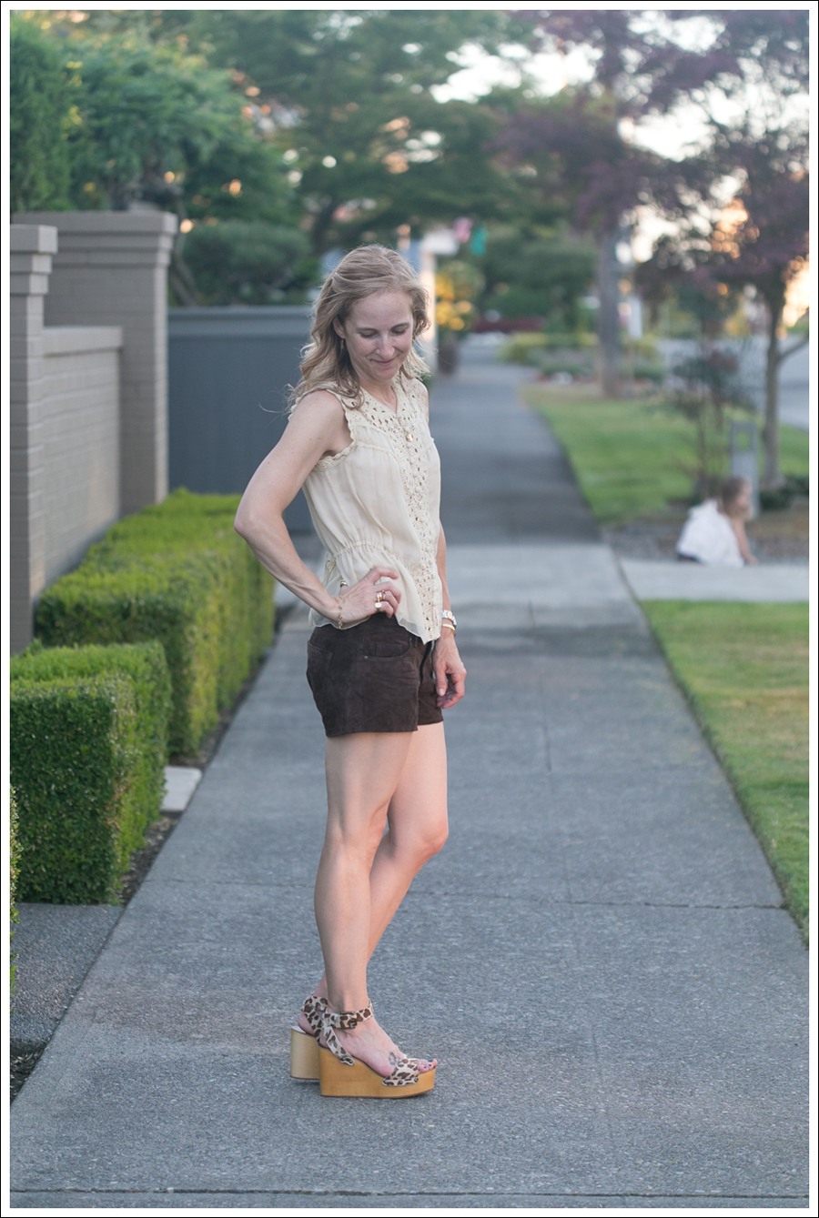 Blog BCBGMaxAzria Silk Top Blank NYC Leather Suede Shorts Steve Madden Ash Sandals-1