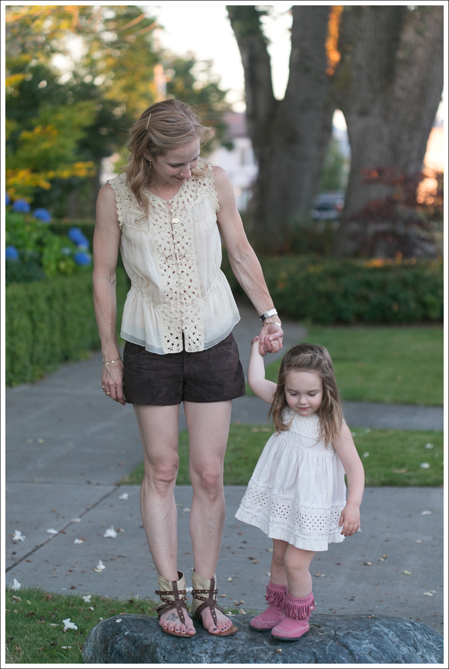 Blog BCBGMaxAzria Silk Top Blank NYC Leather Suede Shorts Steve Madden Ash Sandals-14