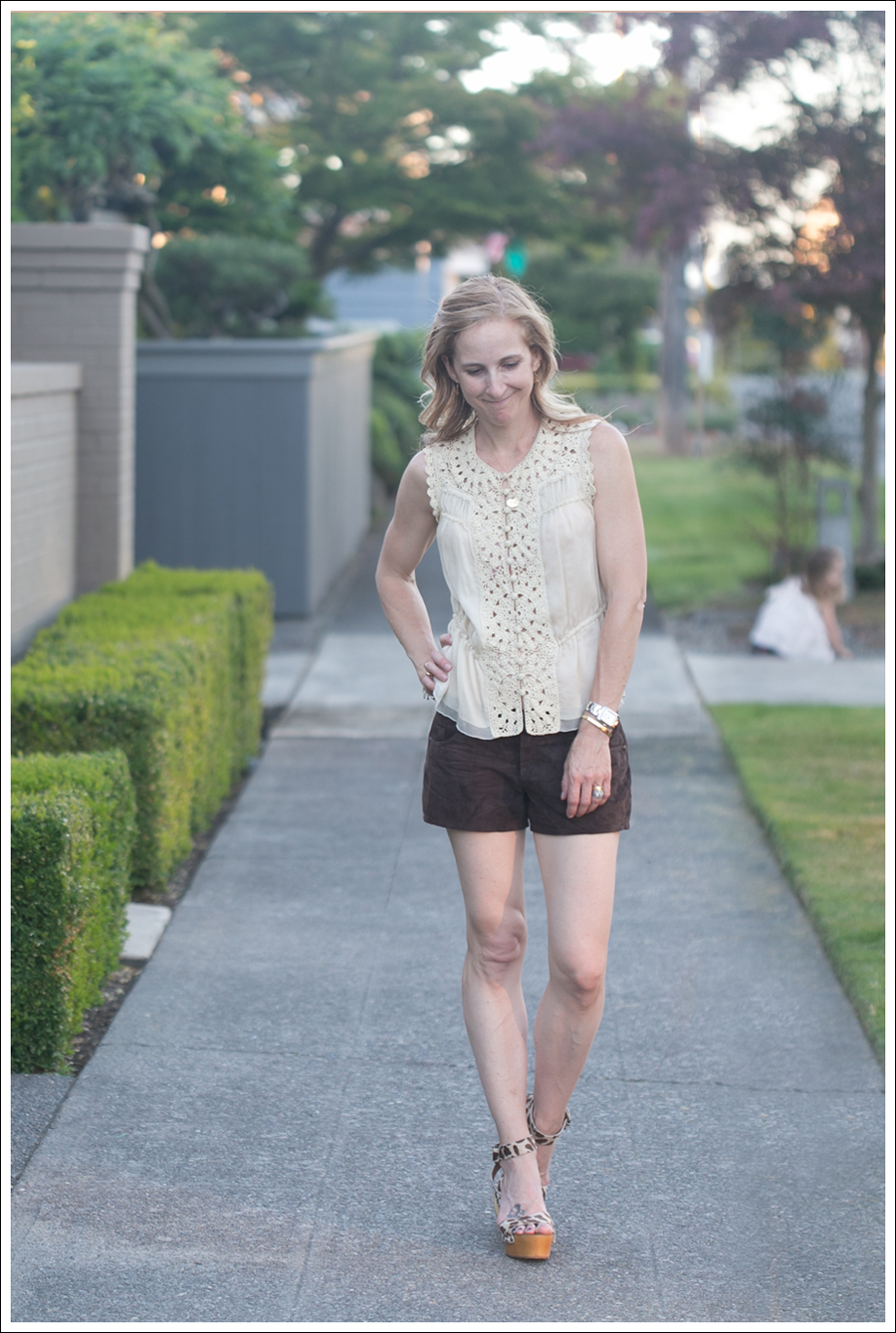 Blog BCBGMaxAzria Silk Top Blank NYC Leather Suede Shorts Steve Madden Ash Sandals-2