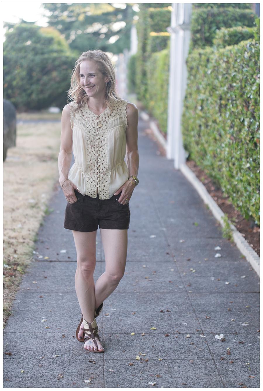 Blog BCBGMaxAzria Silk Top Blank NYC Leather Suede Shorts Steve Madden Ash Sandals-20