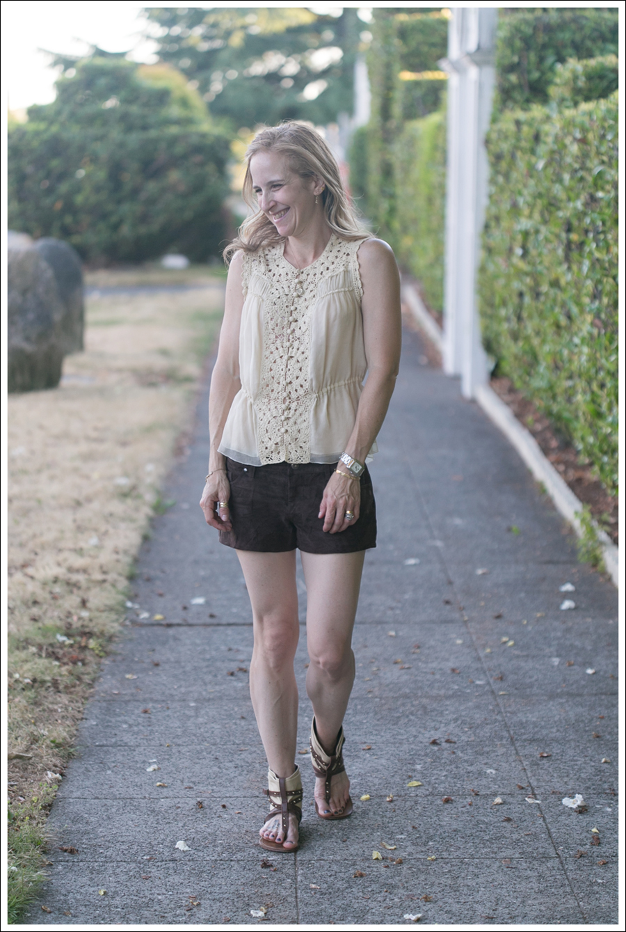 Blog BCBGMaxAzria Silk Top Blank NYC Leather Suede Shorts Steve Madden Ash Sandals-21
