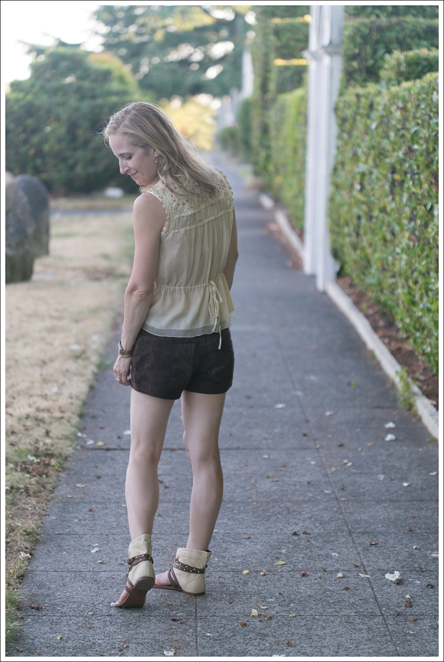 Blog BCBGMaxAzria Silk Top Blank NYC Leather Suede Shorts Steve Madden Ash Sandals-22