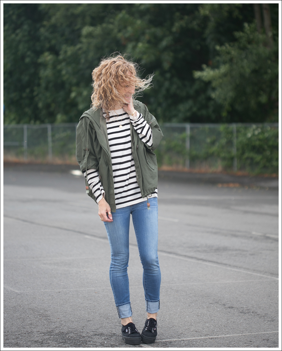 Blog StyleMint Parka HM Striped Sweater Genetic Denim the Shane Black Linea Superga-1
