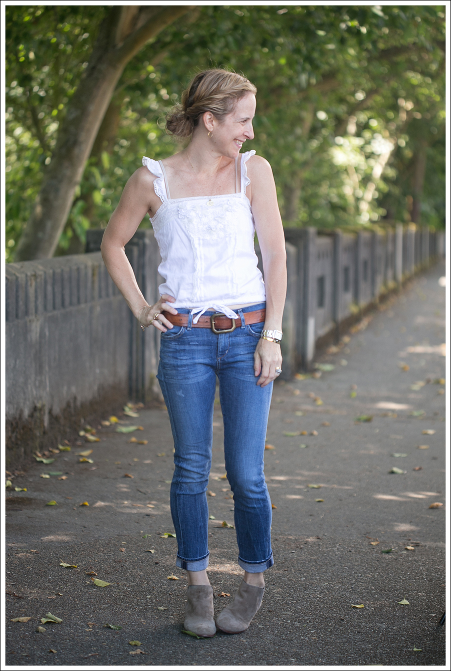 Blog Abercrombie and Fitch Boho Top Citizens Of Humanity Carlton Retro High Rise Jeans Sam Edelman Petty Suede Booties-1