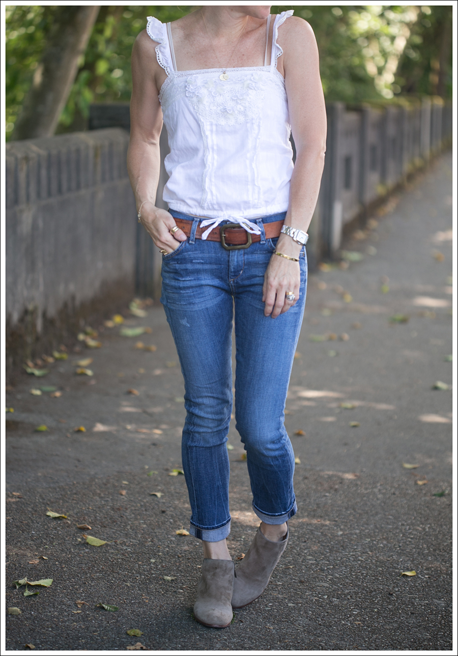 Blog Abercrombie and Fitch Boho Top Citizens Of Humanity Carlton Retro High Rise Jeans Sam Edelman Petty Suede Booties-2