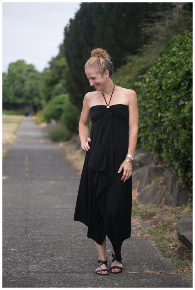 Blog Black Halter Cascade Dress ShoeMint Zandra-1