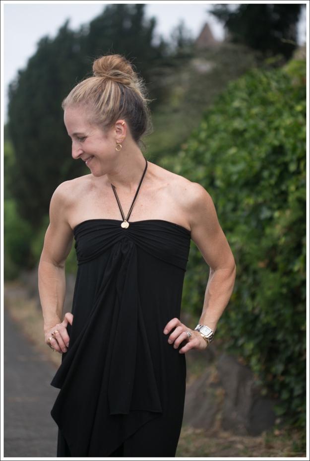 Blog Black Halter Cascade Dress ShoeMint Zandra-2