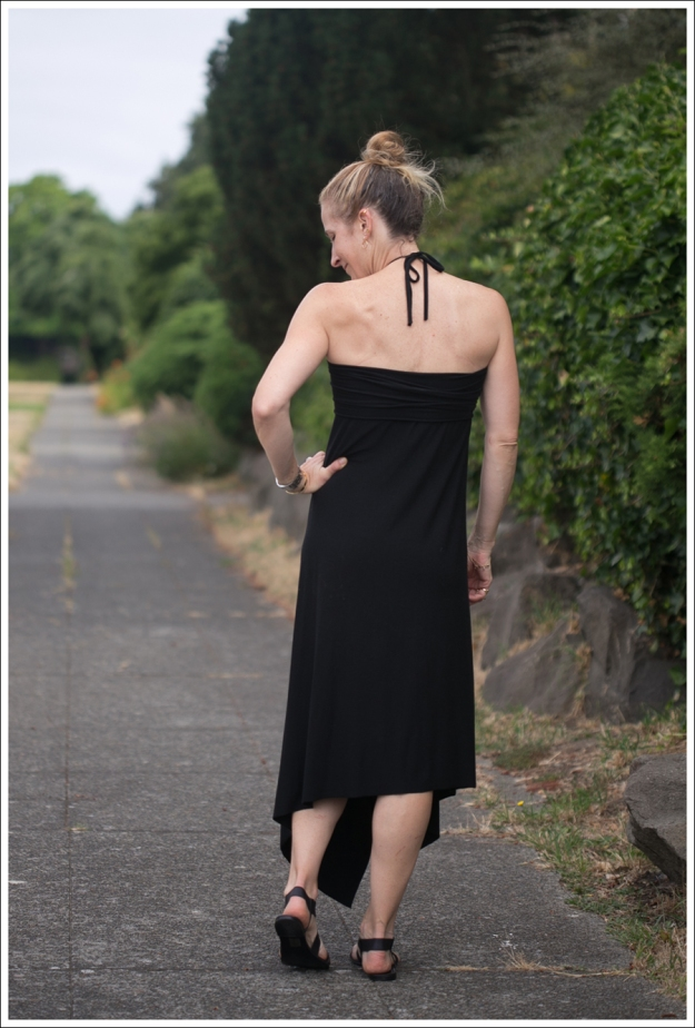 Blog Black Halter Cascade Dress ShoeMint Zandra-3