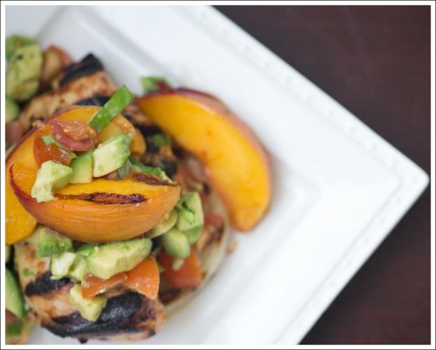 ... Paleo Whole30 BBQ Chicken Onions Peaches with Avocado Tomato Salsa-1