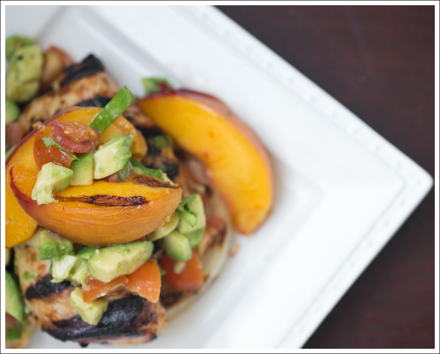 Blog Paleo Whole30 BBQ Chicken Onions Peaches with Avocado Tomato Salsa-1