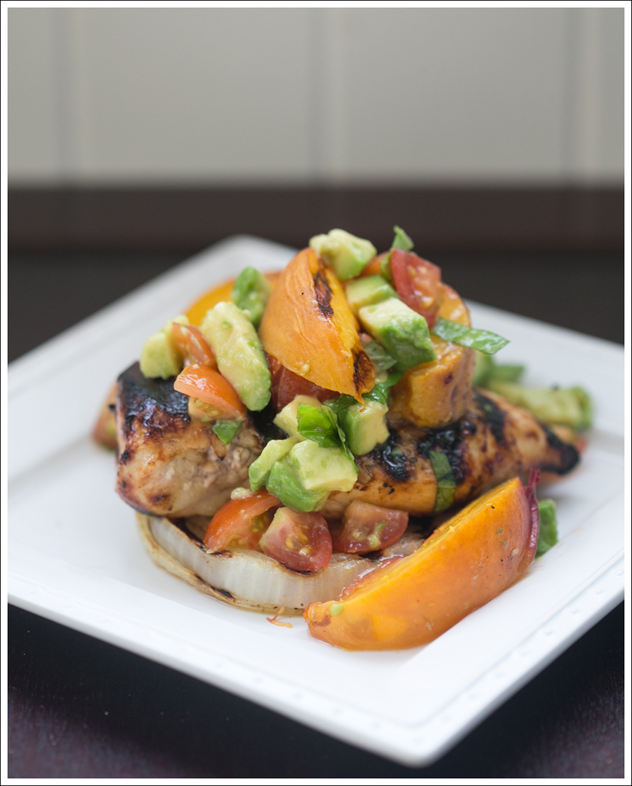 Blog Paleo Whole30 BBQ Chicken Onions Peaches with Avocado Tomato Salsa-2
