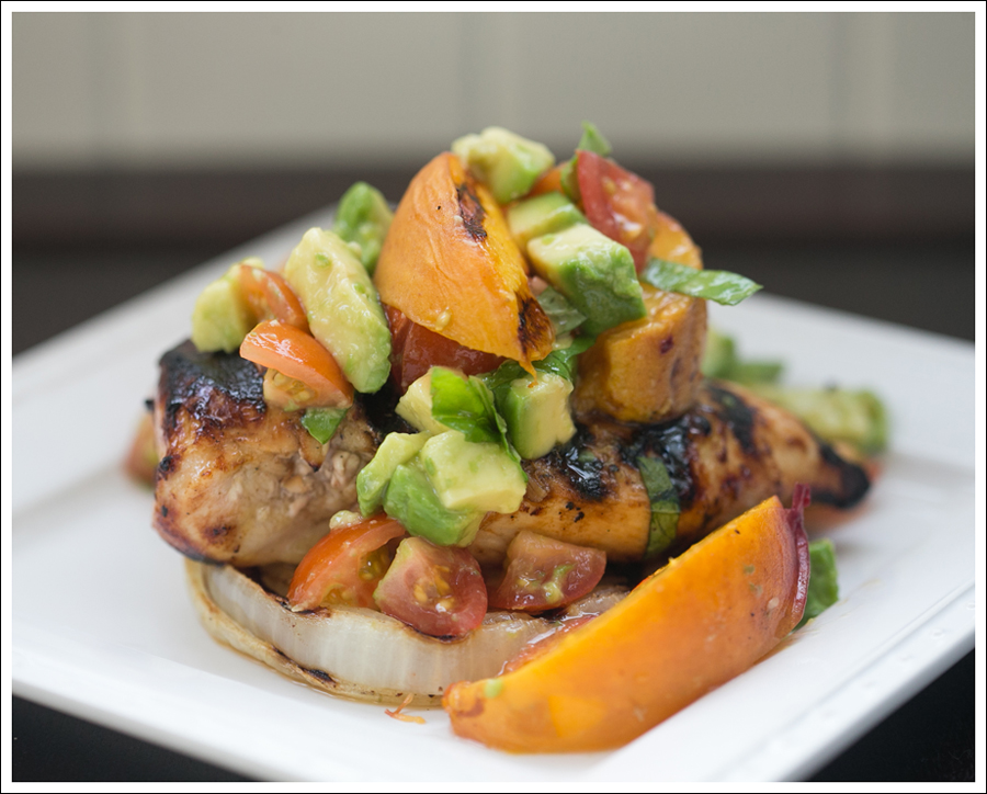Blog Paleo Whole30 BBQ Chicken Onions Peaches with Avocado Tomato Salsa-3